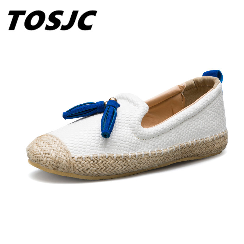 Tosjc 2018 Spring Summer Minimalist Women Leather Espadrilles Luxury Fashion Flats -7067