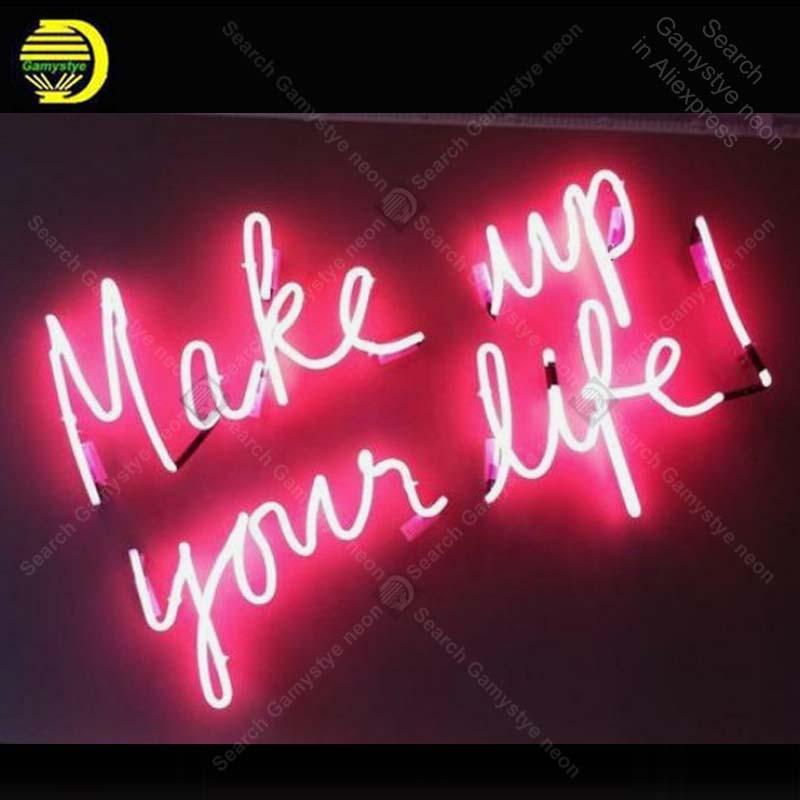 Enseigne au néon maquillage votre vie enseigne au néon artisanat restaurant Bar à bière maison enseigne au néon vintage néon lumière anuncio luminos