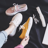 2019 Spring New Women Canvas Shoes Sneaker Girls Pink Shoes Thick soled Solid Color Lace Up Zapatos De Lona De Las Mujeres 35 40
