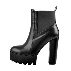 Image 4 - Onlymaker Vrouwen Ronde Neus Platform Enkellaarsjes Dikke Hoge Hak Plus Size Zwarte Dames Laarzen
