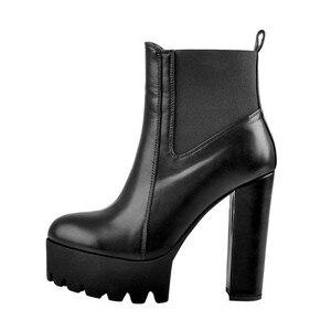 Image 4 - Sómaker Mulheres Dedo Do Pé Redondo botas Plataforma tornozelo Grosso de Salto Alto Plus Size Senhoras Negras Botas