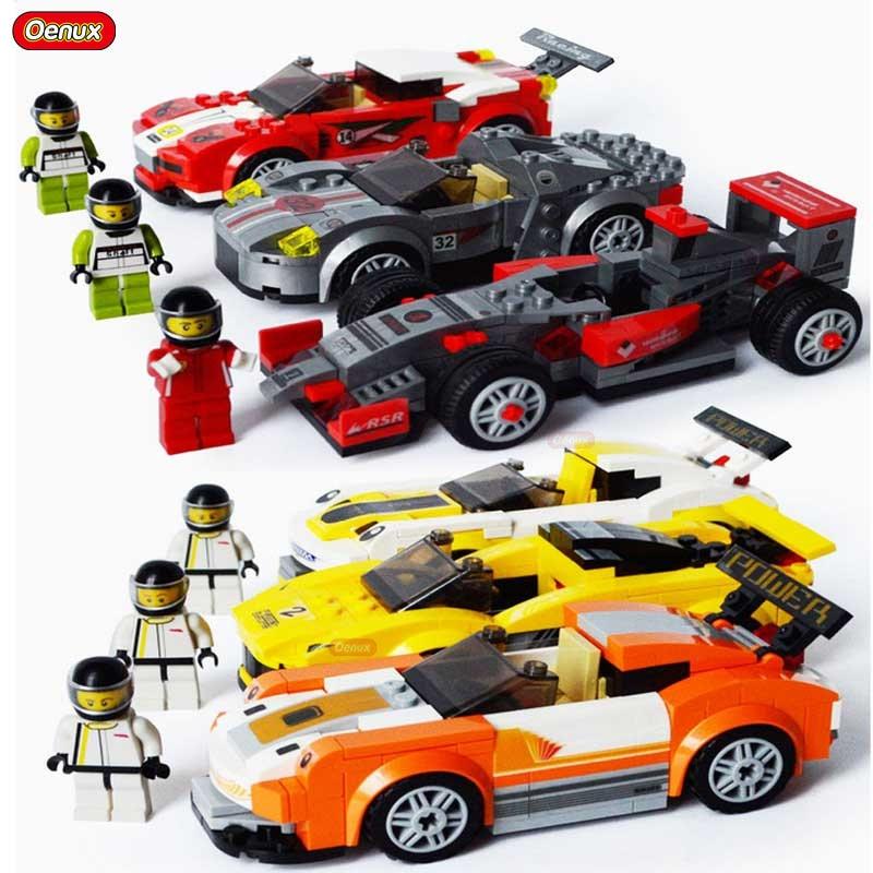 Oenux Technical Car Model F1 Kart Sport Car Racing Cars Vehicle Boys DIY Building Block Racing Driver Figures Brick Toy Boy Gift