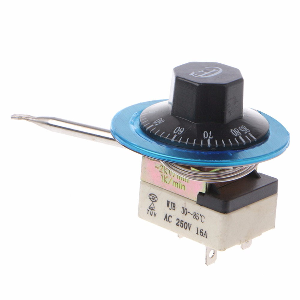 Temperature Control Switch AC 250V 16A 3PIN Ceramic Base Thermostat Water Heater Temperatural Switches 30-85 Degree 2pcs ksd9700 250v 5a bimetal disc temperature switch n c thermostat thermal protector 40 135 degree centigrade