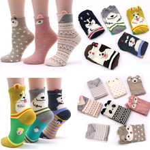 2 par de algodão meias femininas 3d cartoon chrismas meia engraçado colorido padrão inverno moda feminina meias listrado quente meias animal