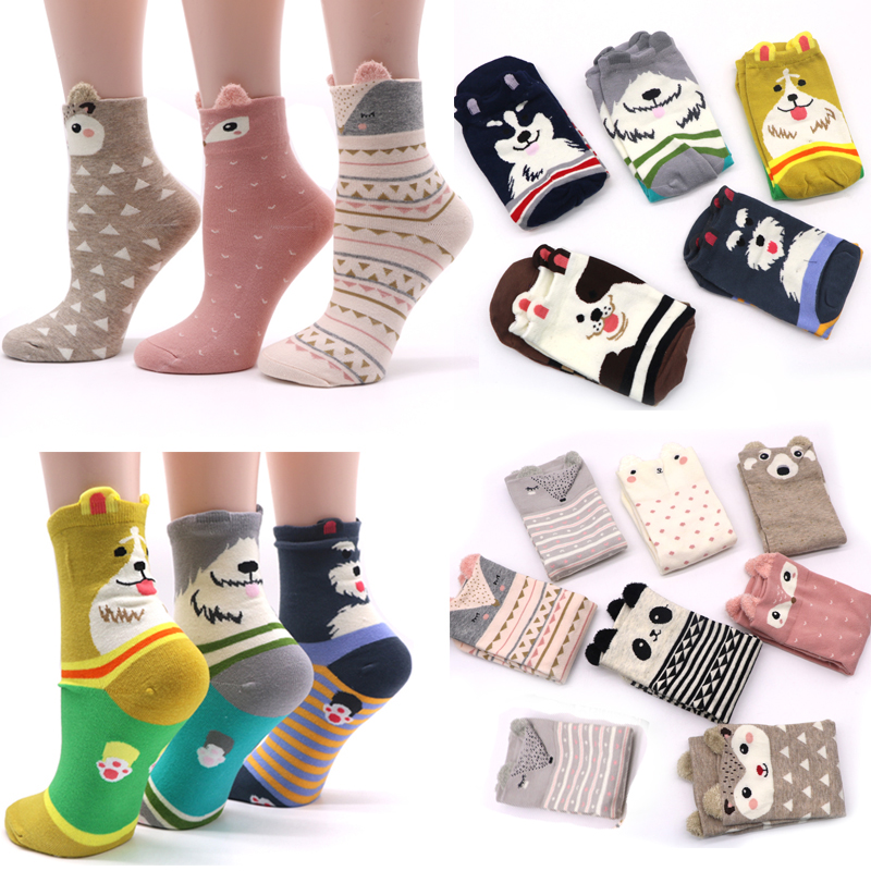2Pair Cotton Women Socks 3D Cartoon Chrismas Sock Funny Colorful Pattern Winter Fashion Female Socks Striped Warm Sock Animal
