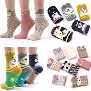 Image 1 - 2Pair Cotton Women Socks 3D Cartoon Chrismas Sock Funny Colorful Pattern Winter Fashion Female Socks Striped Warm Sock Animal