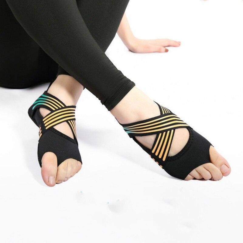 JINBEILEE Bandage Aerial Yoga Socks Slip Professional Fitness Five Fingers Adult Fingerless Shoes  Soft Sole