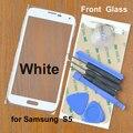 Blanco Original cristal de la pantalla táctil para Samsung i9600 S5 G900 lente frontal envío 3 M adhesivo + 8 herramientas! envío gratis