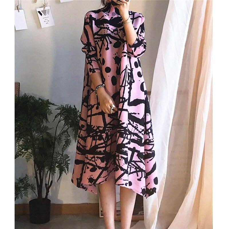 Changpleat 2019 printemps nouvelle robe à col roulé Miyak plissée conception de mode imprimé grande taille lâche a-ligne robes femmes marée D90