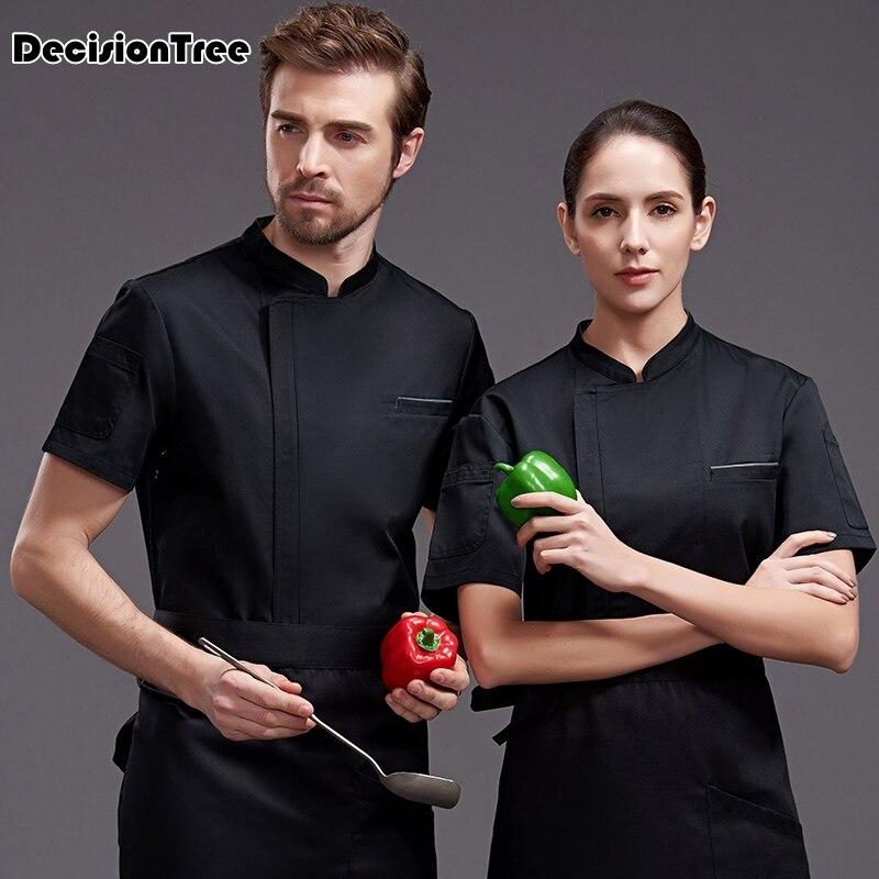 2019 été femmes hommes à manches courtes double boutonnage respirant cuisine vêtements de travail chef vestes restaurant service alimentaire uniforme