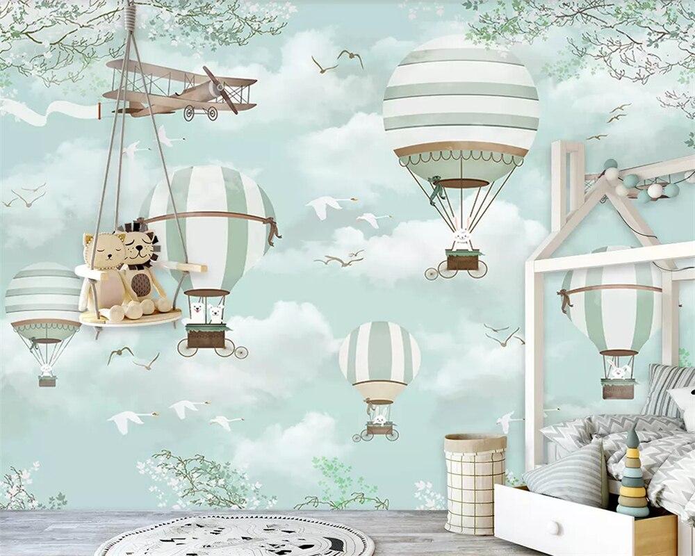 Beibehang Large Custom Wallpaper Mural  Cartoon Hot Air Balloon Aircraft Blue Sky Hand Painted Cartoon Kids  3d Wallpaper