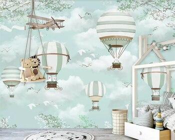 цены beibehang Large Custom Wallpaper Mural  Cartoon hot air balloon aircraft Blue sky Hand Painted Cartoon Kids  3d wallpaper