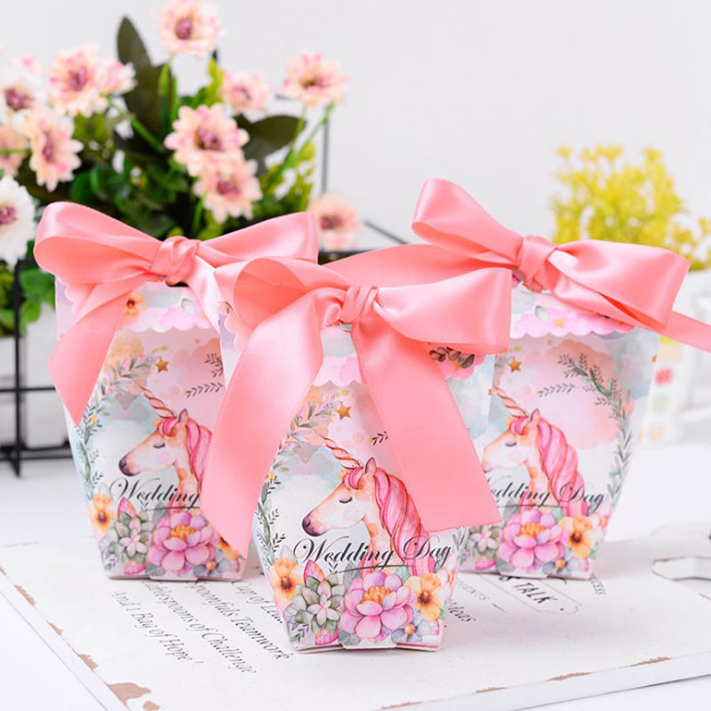10 Pcs/lot lovely Unicorn Candy Boxes Wedding Candy Box Birthday Favors Baby Shower Decoration supplies party gift