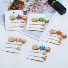 HOCOLE Korean Women Gold Metal Hair Clip Fashion Imitation Pearl Shell Barrette Hairpins Styling Accessories Tool Jewelry