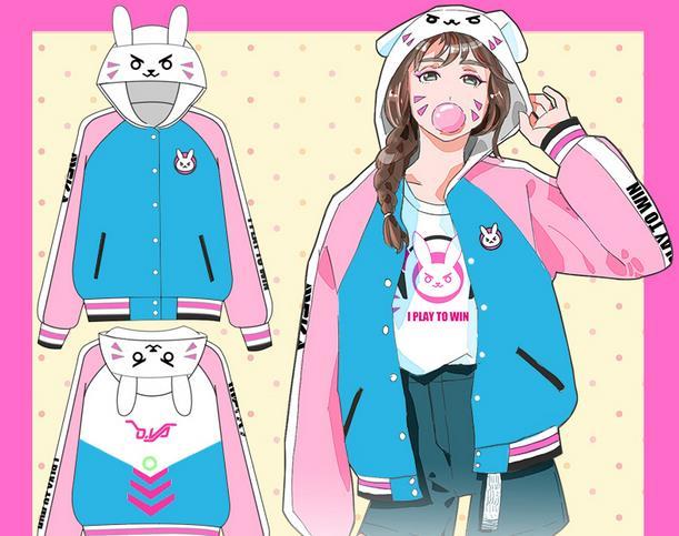 Anime Game OW Cute D.VA Unisex Blue Cosplay Costume jas Hoodie Jacket - Carnavalskostuums