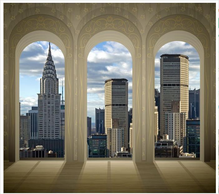 d fondo de pantalla d murales de papel tapiz para paredes d ventanas fuera de la ciudad paisaje de estilo euro