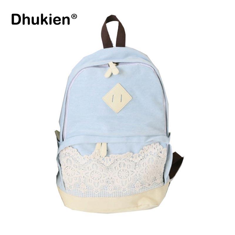 ᗑModa mochila Denim encaje azul escuela mochilas para adolescente ...