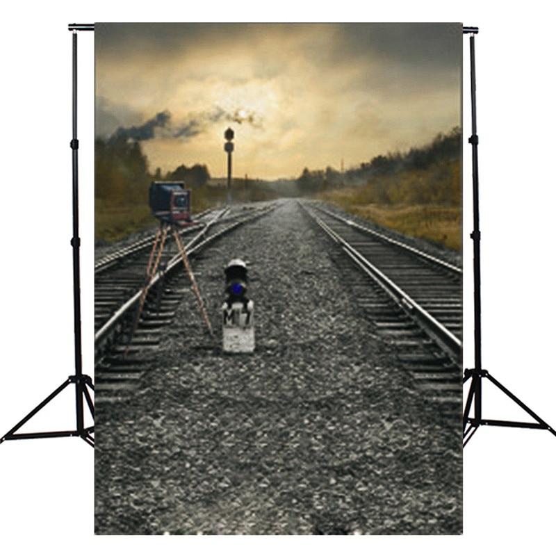 3x5ft Thin vinyl Photographic Background Train Road Railway Track Camera Theme Photography Backdrop Studio Photo Props
