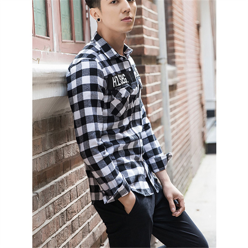 Flanellen Overhemd.Casual Koreaanse Mens Fashion Flanellen Overhemd 2018 Plus Size