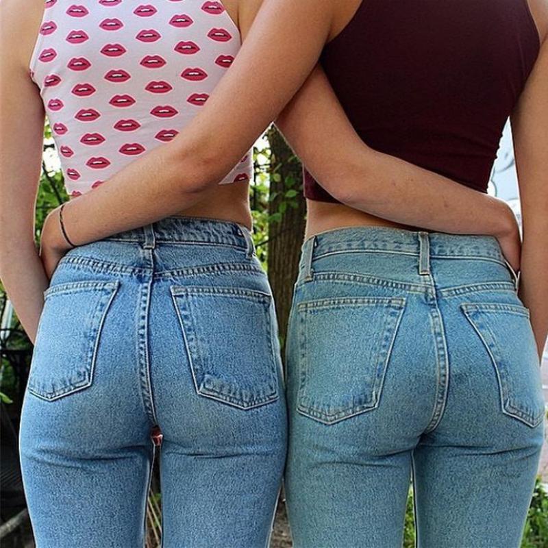 High Quality Denim Blue Jeans Pants Women Push Up Tassels Mid Waisted Jean Haren Pants Retro Mom Jeans Push Up Plus Size Trouser