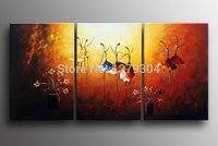 Free Shipping New Handpainted 3 Panels Modern Wall Oil Painting Flowers Dance Beauty Abstract Home Decorative