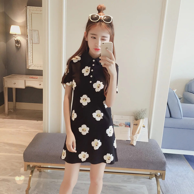 5390c320dd Summer Polo Shirt Girls Dress 2016 Casual One-piece camellia Print Dresses  Patchwork Sundress Plus Size One Size T-Shirt Dresses