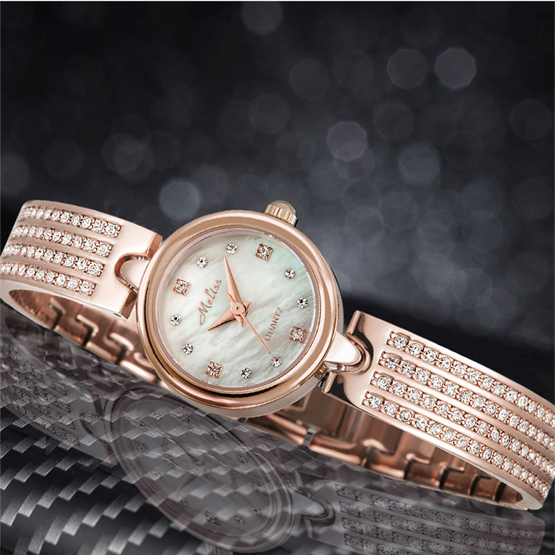 Melissa Fashion Women Crystals Watches Small Bracelet Watch Bangle Shell Analog Montre Luxury Brand Jewelry Wrist watch Femme
