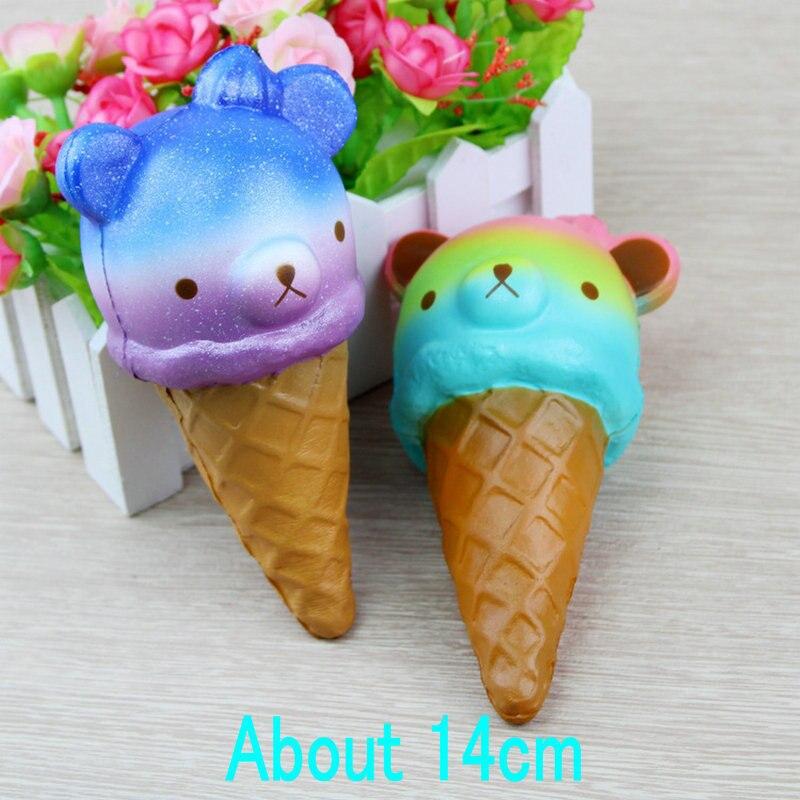 2018 Kwaii 1PC Rainbow Cake Bear Penguin Ice Cream Cute Slow Rising Squeeze Fun Kid Toy Gift Squishy Cone Pendants Color Random