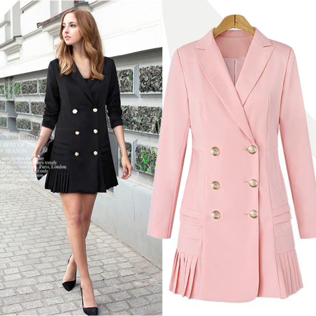 d851c6f2323 Double Breasted Women Blazers and Jackets 2017 Autumn Pleated Long Suit  Coat Women Outwear Blazer Feminino Plus Size E0221