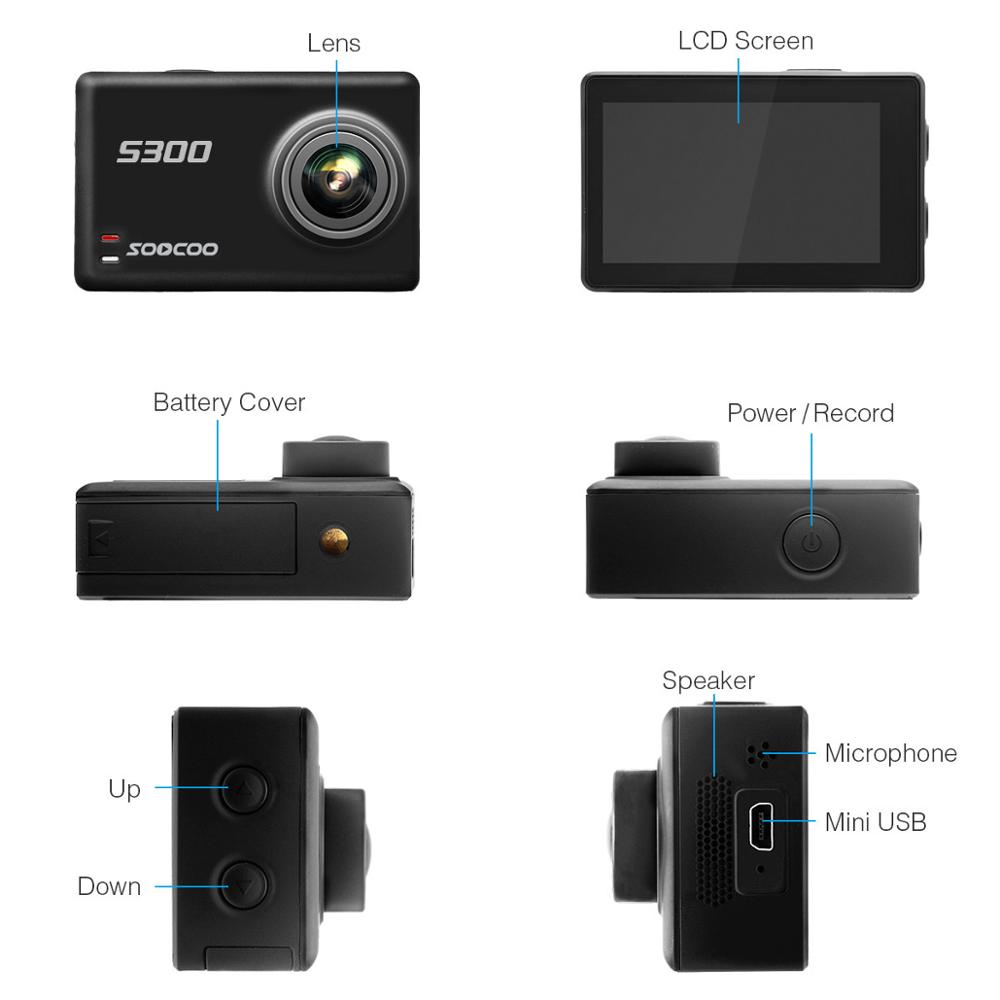 Soocoo S300 action camera 4k 30FPS 2.35 Touchscreen wifi microphone GPS Mic remote control case camera sport camera 4k - 2