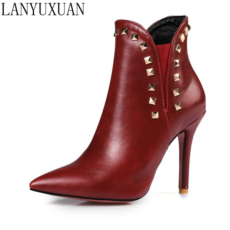 LANYUXUAN Short Boots Mujer Big Size Pointed Toe shoes Woman Sexy High Heels Fashion Spring Autumn Winter Ankle Boots Shoes 584 blxqpyt big size 33 50 women high heels ankle short boots autumn winter shoes pointed toe platform knight martin boots 2 5
