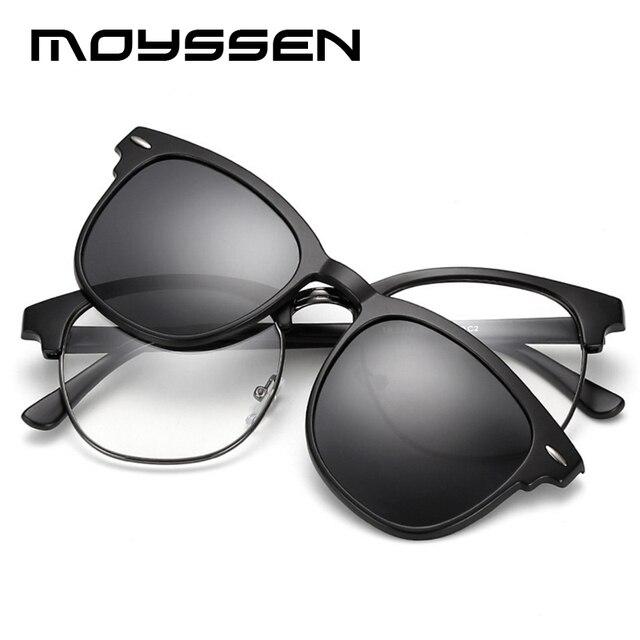35b29ee532d2 MOYSSEN Brand Oversize Square Myopia TR90 Glasses Frame Men Women Polarized  Sunglasses Clip Set Mirror Club Driving Eyeglasses