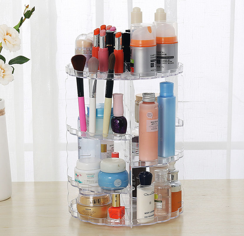 360 Degree Rotation Transparent Makeup Organizer Case Cosmetic Brush Storage Holder Box  Can Freely Change Storey Hight 360 degree rotation transparent makeup organizer case cosmetic brush storage holder box can freely change storey hight