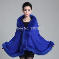 Sjaals Sjaal De nieuwe Acura luxe bontkraag wol vest jas Lederen gras cape blouses 42265