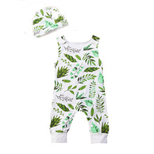 Sleeveless Green Leaves Print Newborn Rompers Toddler Infant Baby Boy Girl Summer Romper Jumpsuit+Hat Outfit(China)