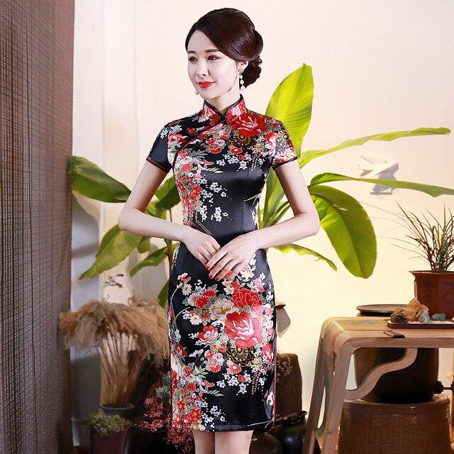 BLACK Print Flower Women Short Slim Cheongsam Sexy High Split Chinese Traditional Dress Plus Size Rayon Qipao Vestidos S-6XL