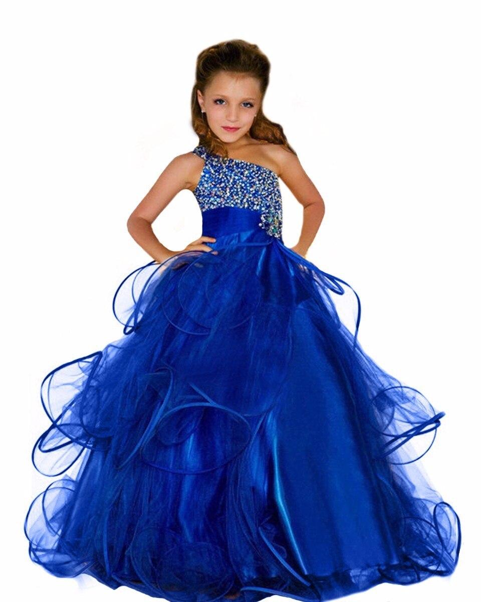 Königsblau Blumenmädchenkleider für Hochzeit Mädchen Kleid