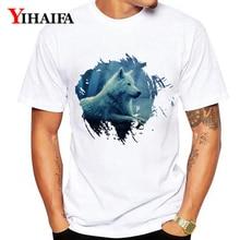 Summer Harajuku T-Shirt Men Women Wolf 3D Print Animal Graphic Tees Casual Unisex Tops Hip Hop White Tee Shirts men wolf 3d print tee