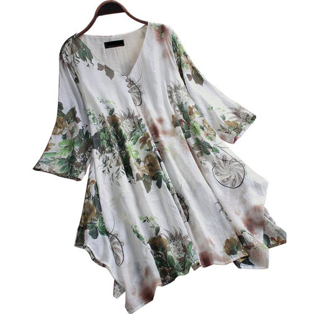 Large Size Women's Shirt Cotton And Linen Plus Size 5XL 6XL 7XL 8XL 9XL Summer V-neck Short-sleeved Loose White Top 1