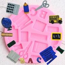 Globe Study Book Scissor dziecko samochód linijka szkolne pióro silikonowe formy kremówka ciasto dekorowanie babeczek cukierki foremki do czekolady i lukru