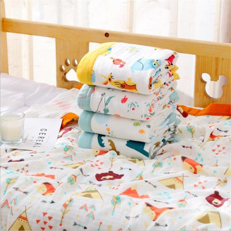 Image 2 - 4 слоя детская муслиновая пеленка одеяло бамбуковое хлопковое детское одеяло для коляски детское одеяло 110x120 см муслин животные динозавры одеяло-in Одеяла и пеленки from Мать и ребенок