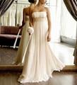 Strapless Vestido de Noiva Império 2017 Terno Mulheres Grávidas Vestidos Chiffon de Casamento Branco Marfim Vestidos de Casamento OW770021