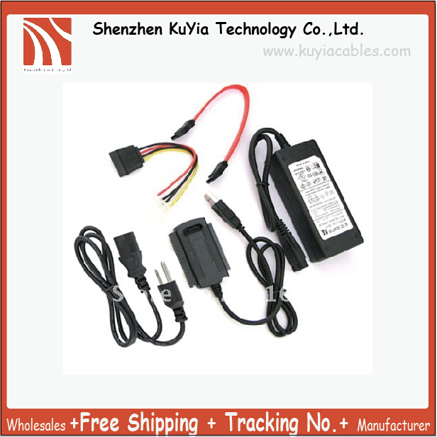 Free Shipping+Wholesales+USB 2.0 to SATA IDE Cable Power Adapter for Hard Drive+3pcs/log
