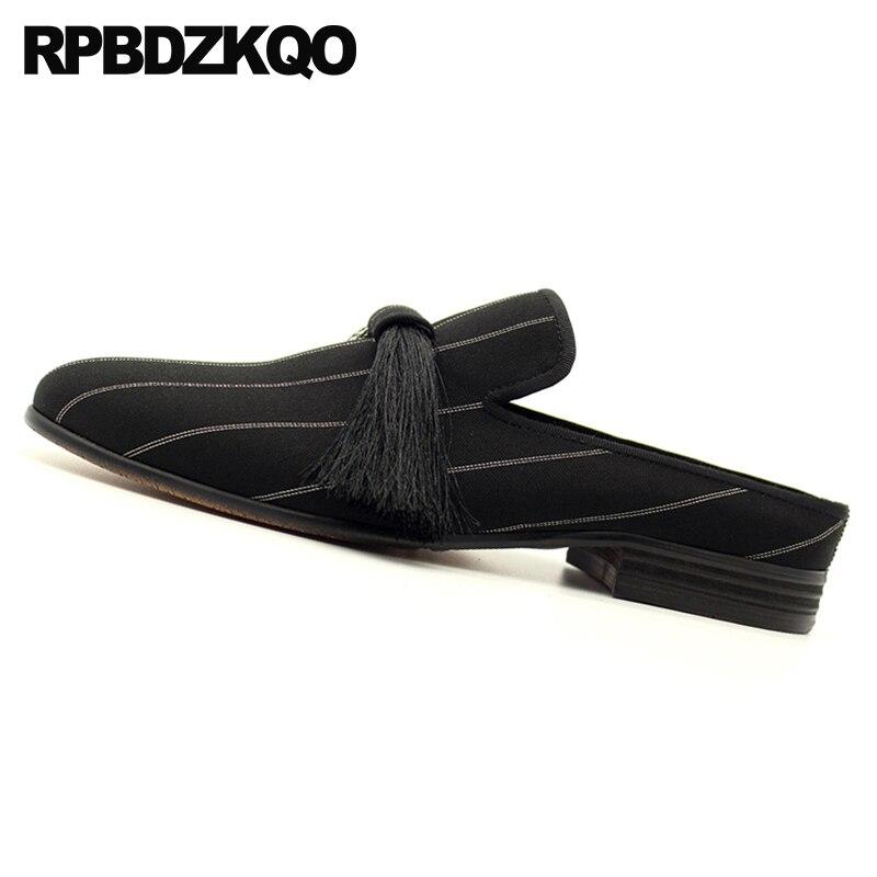Zapatos Del Cuero Calidad Real Diseñador Ocasionales De Hombres En Lujo Diapositivas Borla Negro Raya Alta Genuino Marca Sandalias Mulas Deslizamiento fFRqxv