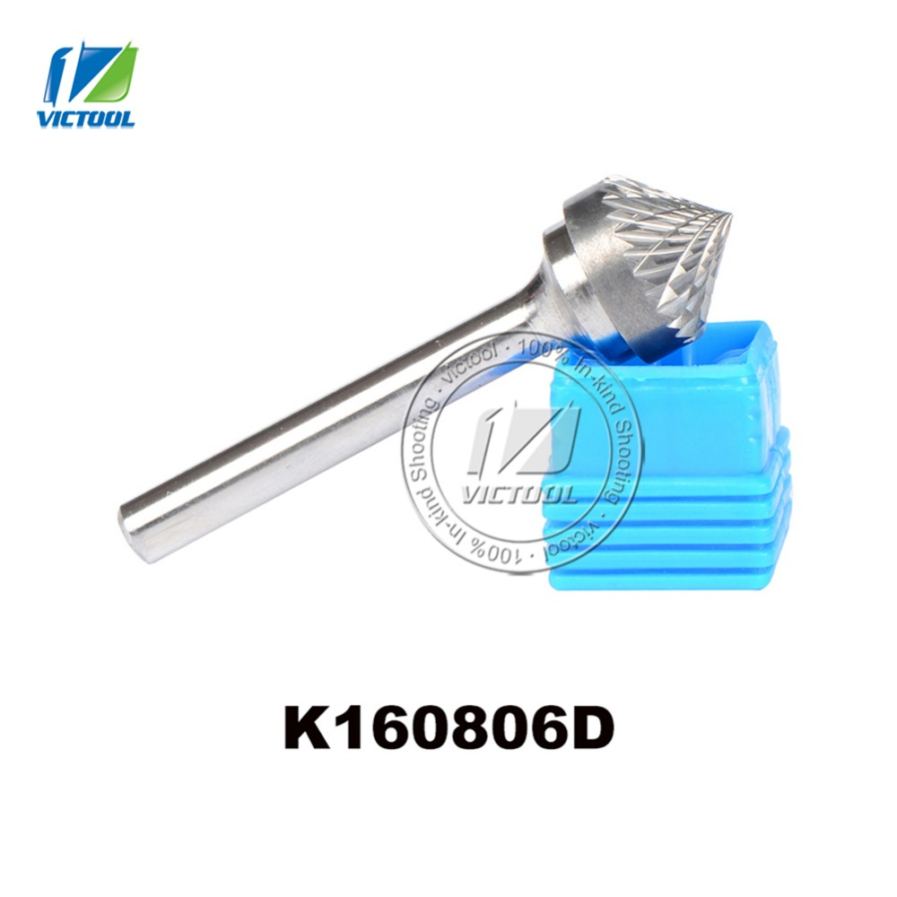 Tungsten carbide K type cone 90 degree 16*8mm rotary burr file cutter grinding and abrasive tool K160806 6mm shank milling tools h type super quality 5pcs set different sizes single cut torch cylinder carbide rotary burr file 6mm shank