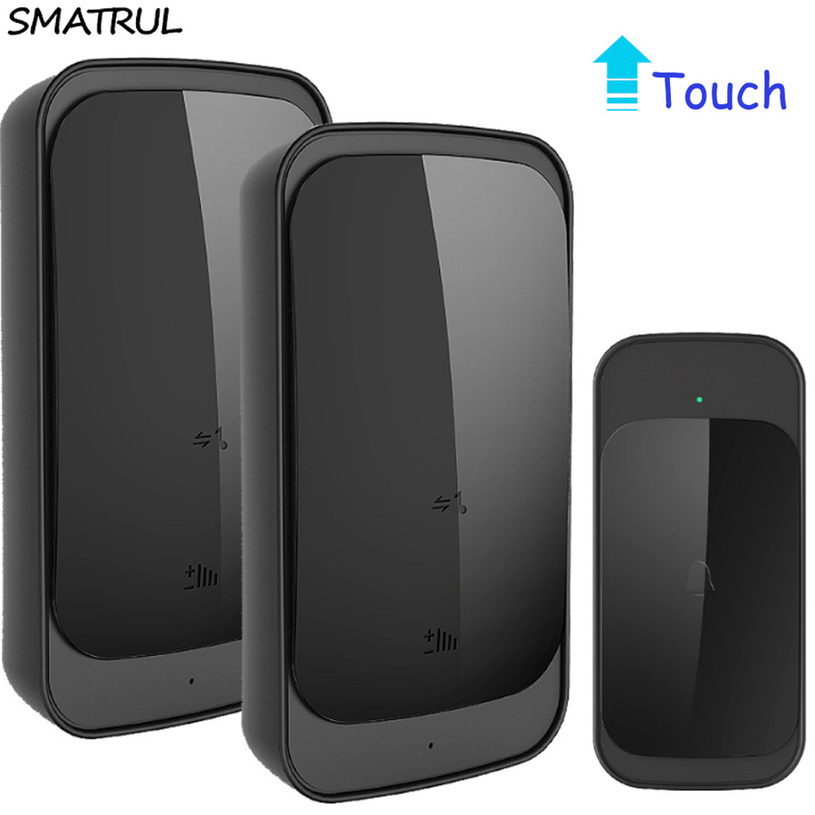 SMATRUL touch Waterproof Wireless Doorbell EU US Plug 280M range smart home Door Bell Chime ring 1 button 2 receiver 110v 220v cacazi wireless cordless doorbell remote door bell chime one button and two receivers no need battery waterproof eu us uk plug