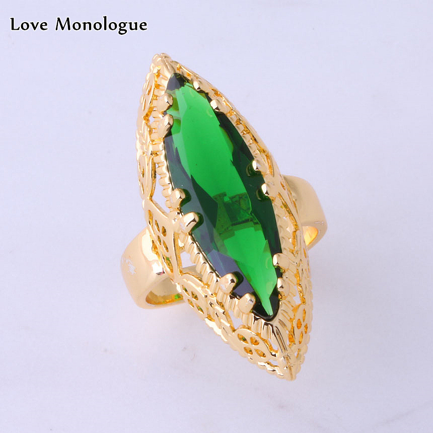 Love Monologue Precious Green Crystal Yellow Gold Color Horse Eye Rings for Women Jewelry Christmas Gift X0013