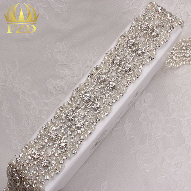 (10yards) Wholesale 1 Yard Sew On Hot Fix Sliver Clear Pearl and Rhinestone  Trimmings for Wedding Dresses and Bridal Sash 1c189bfbe2ee