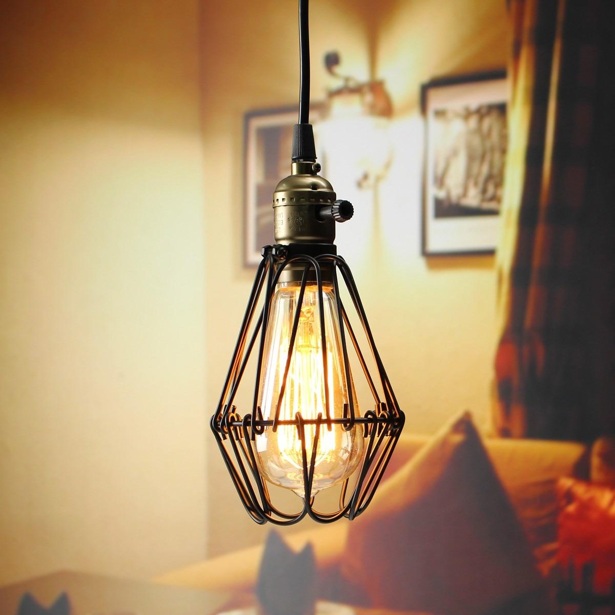 Hot Sale E27 40W ST64 Loft Metal Retro Industrial Pendant Light Black Wall Hanging Lamp Shade Holder Bulb Socket 110-220V