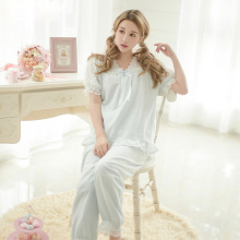Free Shipping 2017 New Cotton Women's Pajamas Sets Short Sleeves Sweet Princess Female Sleepwear 2 Piece Set Home Clothes
